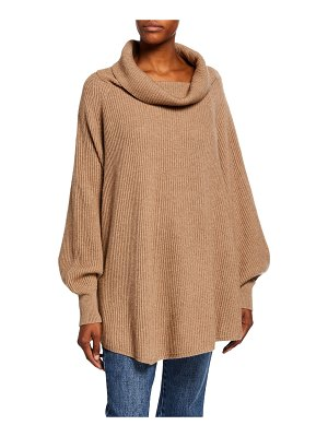 Co. Ribbed Cowl-Neck Cape-Back Sweater