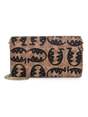 COACH 1941 x rexy by guang yu callie signature canvas & leather clutch