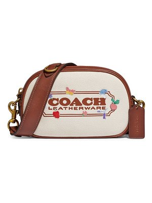 COACH badge embroidered canvas camera bag