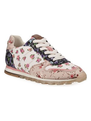 COACH C118 Floral Nylon Lace-Up Trainer Sneakers