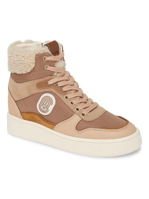 COACH c220 high top sneaker with genuine shearing trim