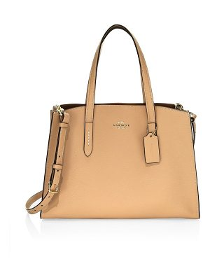 COACH charlie pebbled leather carryall satchel