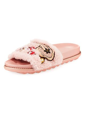 COACH Cherries and Shearling Slide Sandal