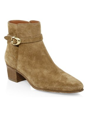 COACH chrystie buckle suede booties