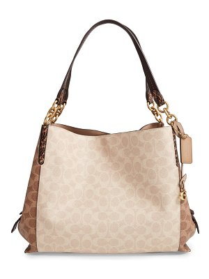 COACH dalton 31 signature coated canvas shoulder bag with genuine snakeskin trim