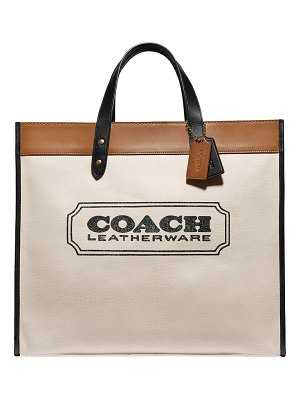COACH Field 40 Canvas Tote Bag with Logo Branding