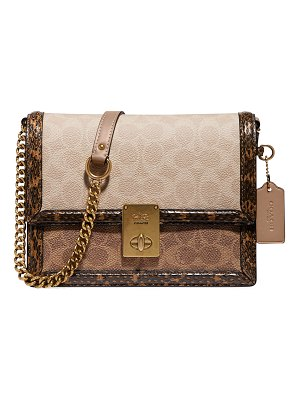 COACH Hutton Coated Canvas Signature Block & Snake Shoulder Bag