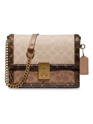COACH hutton snakeskin, leather & signature coated canvas crossbody bag
