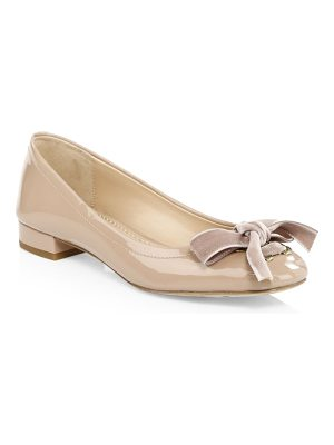 COACH lia velvet bow patent leather flats
