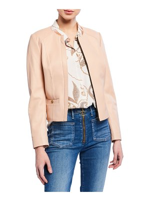 COACH Light Feminine Zip-Front Lambskin Leather Jacket
