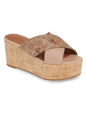 COACH logo embossed wedge slide sandal