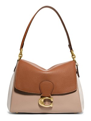 COACH may colorblock pebbled leather shoulder bag