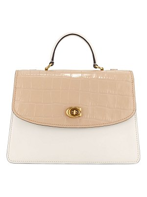 COACH Parker 32 Two-Tone Croc-Embossed Leather Top-Handle Bag