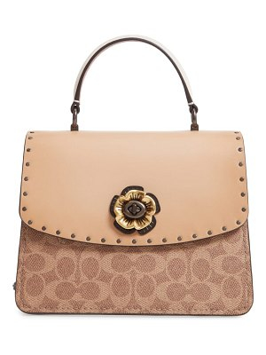 COACH parker signature canvas & leather top handle shoulder bag