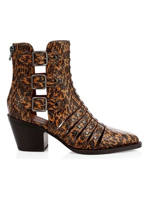 COACH phoebe snake-embossed studded cutout booties