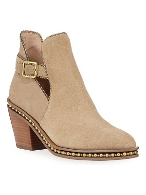 COACH Pipa Suede Bead-Chain Western Booties