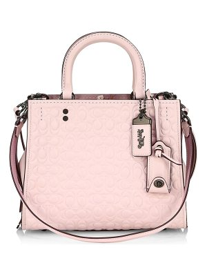 COACH rogue floral bow leather satchel