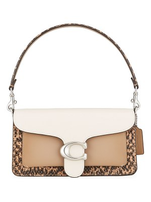 COACH Tabby 26 Colorblock Mixed Leather Shoulder Bag with Exotic Trim