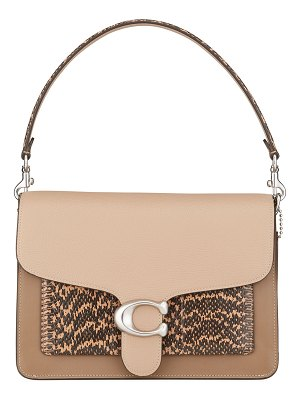 COACH Tabby Colorblock Mixed Leather Shoulder Bag with Exotic Pocket