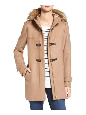 COLE HAAN SIGNATURE cole haan hooded duffle coat with faux fur trim