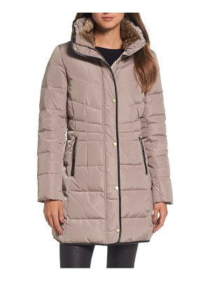 COLE HAAN SIGNATURE cole haan quilted down & feather fill jacket with faux fur trim