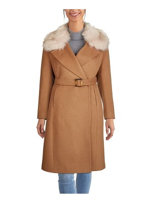 COLE HAAN SIGNATURE cole haan slick wrap coat with faux fur trim