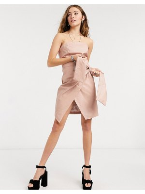 Collective The Label pu bandeau wrap mini dress with waist tie detail in taupe-neutral