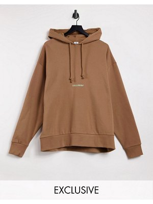 Collusion brown oversized hoodie with contrast logo