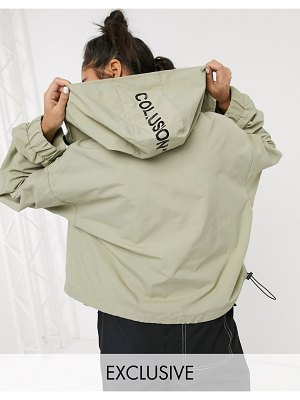 Collusion cropped parka jacket in stone-brown