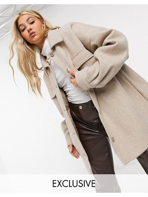 Collusion faux-wool coach jacket in oatmeal-brown