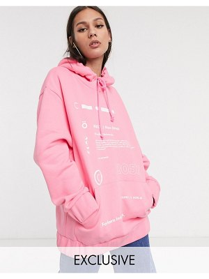 Collusion graphic printed oversized hoodie in pink