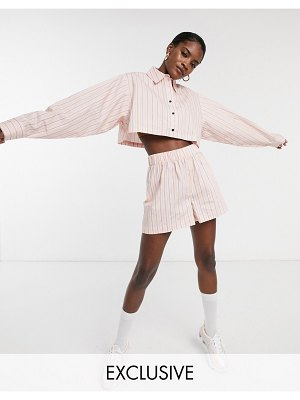 Collusion high waist stripe shorts-pink