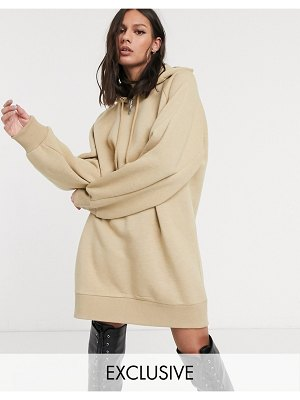 Collusion hoodie dress in beige