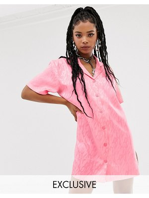 Collusion jacquard shirt dress-pink