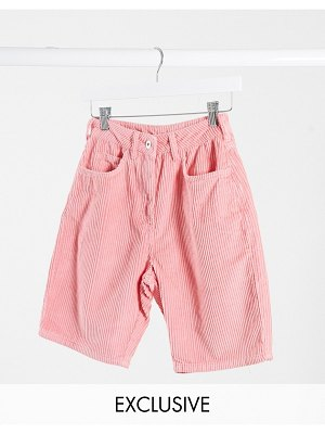 Collusion mom shorts in pink cord