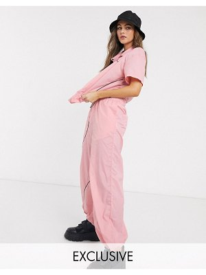 Collusion nylon wide leg pants in pink-beige