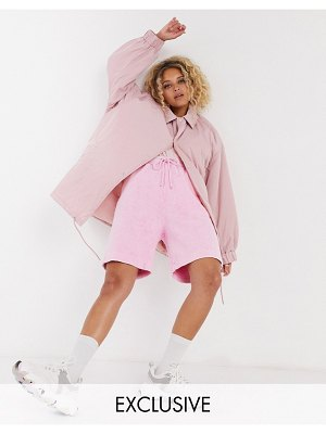 Collusion oversized coach jacket in pink