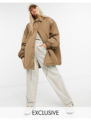 Collusion oversized coach jacket in tan-beige
