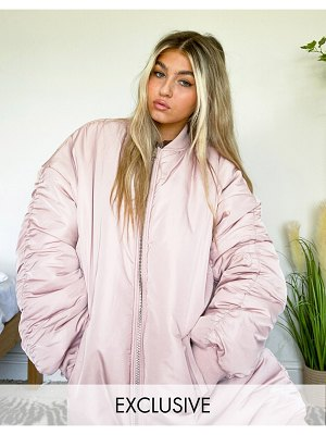 Collusion oversized ma1 longline bomber jacket in pink