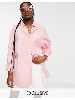 Collusion oversized pink shirt in organic cotton