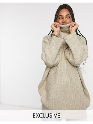 Collusion oversized rib sweater dress in camel-beige