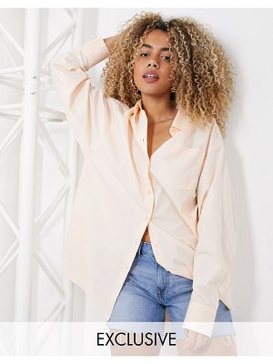 Collusion oversized shirt in peach-pink