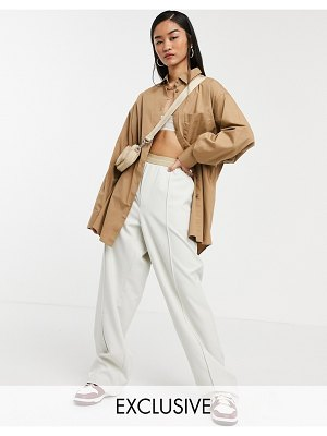 Collusion oversized tan shirt in organic cotton-brown