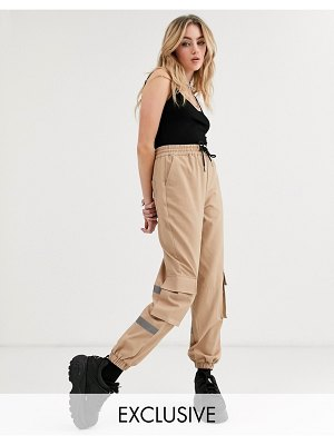 Collusion pants with relfective panel-brown