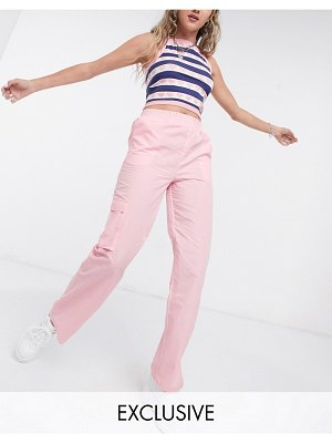 Collusion relaxed pants in pale pink