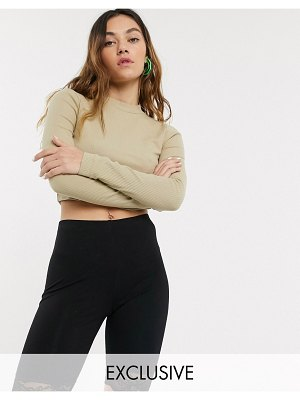 Collusion rib long sleeve t-shirt in beige