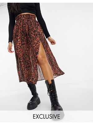 Collusion sheer pleated midi skirt with slit in snake print-brown