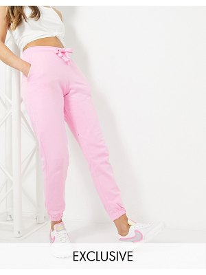 Collusion skinny sweatpants in pink