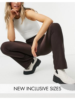 Collusion slinky legging flares in charcoal-brown