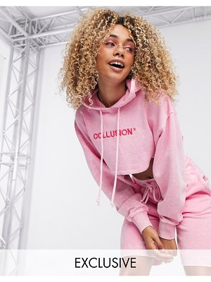 Collusion super crop hoodie with brand print in pink
